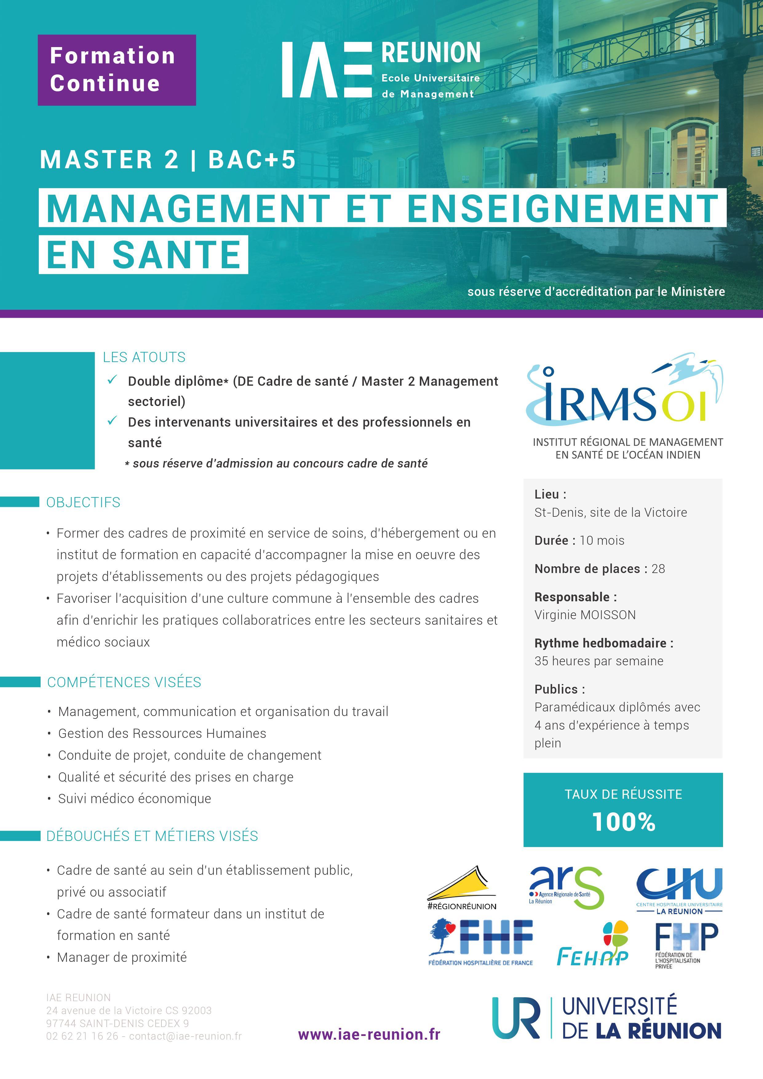 master 2 management et enseignement en sant u00e9